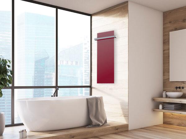 pannello radiante in vetro rosso